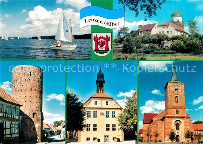 AK / Ansichtskarte Lenzen_Elbe Rudower See burg Stumpfer Turm Rathaus Kirche Lenzen Elbe