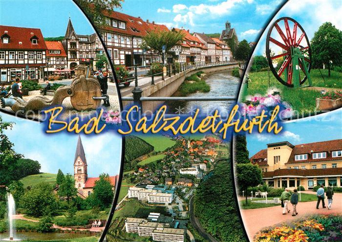 AK / Ansichtskarte Bad_Salzdetfurth Markt Brunnen Fluss Rad Kirche Fliegeraufnahme Bad_Salzdetfurth 0