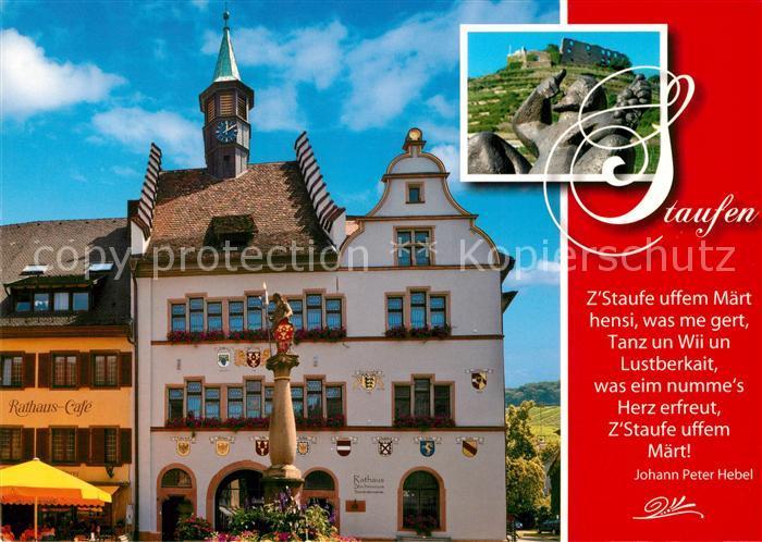 AK / Ansichtskarte Staufen_Breisgau Rathaus Cafe Rathaus Burgruine Staufen Breisgau