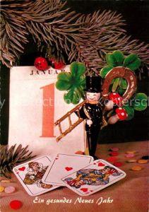 AK / Ansichtskarte Neujahr Spielkarten Schornsteinfeger Hufeisen Kleeblatt Pilze  Neujahr