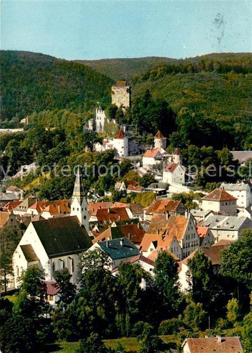 AK / Ansichtskarte Pappenheim_Mittelfranken Ortsansicht mit Kirche und Burg Pappenheim Mittelfranken