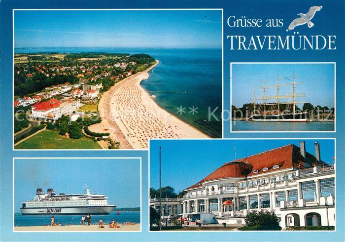AK / Ansichtskarte Travemuende_Ostseebad Fliegeraufnahme  Kurhaus Segelschiff Strand Silja Line Travemuende_Ostseebad
