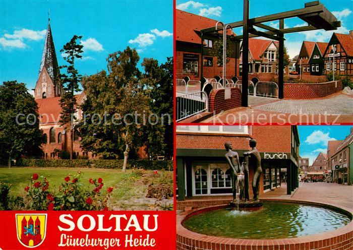 AK / Ansichtskarte Soltau Brunnen Kirche Soltau