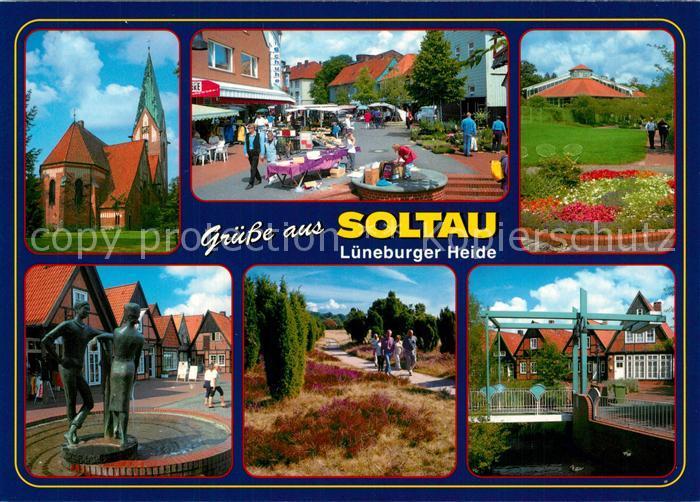 AK / Ansichtskarte Soltau Brunnen Kirche Bruecke Heide  Soltau