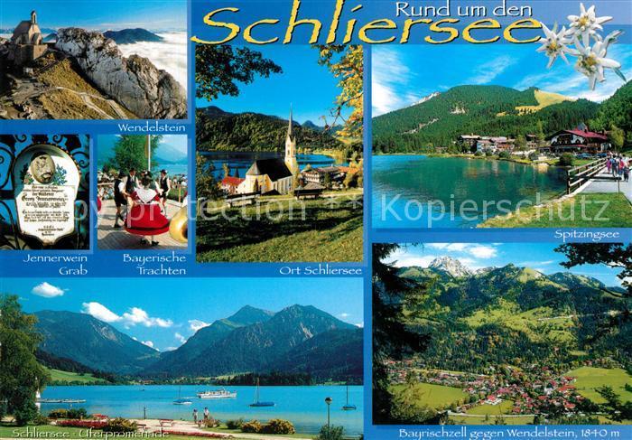 AK / Ansichtskarte Schliersee Wendelstein Jennerweingrab Trachten Spitzingsee Uferpromenade Bayrischzell gegen Wendelstein Schliersee