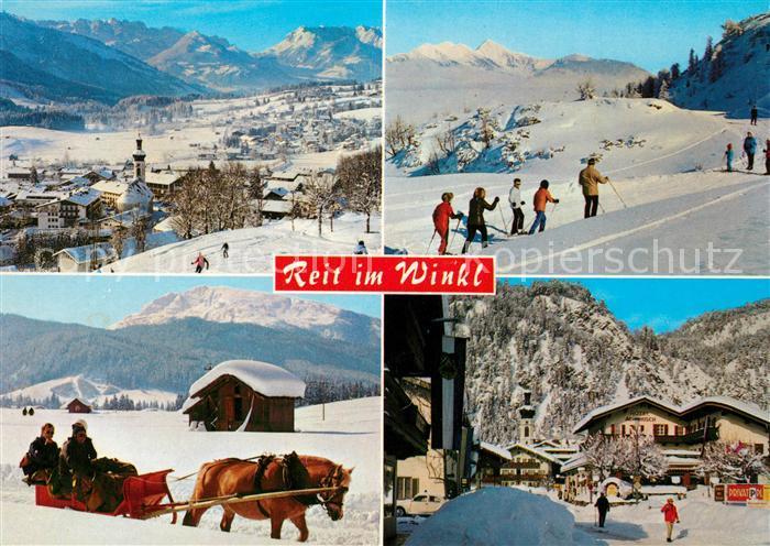 AK / Ansichtskarte Reit_Winkl Winterlandschaft Wintersportplatz Langlaufloipe Pferdeschlitten Alpenpanorama Reit_Winkl