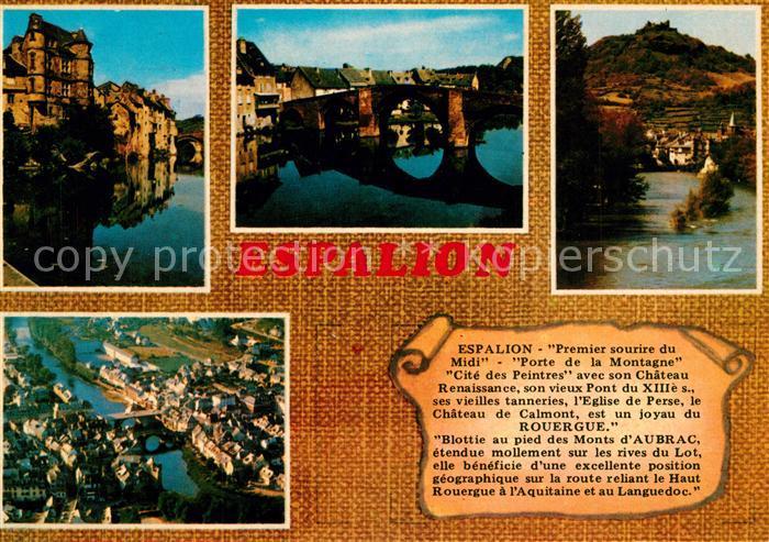 AK / Ansichtskarte Espalion Le Palais Renaissance Pont Gothique Vue generale et le chateau de Calmont Vue generale aerienne Espalion
