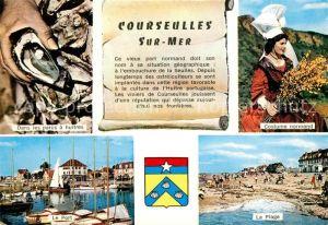 AK / Ansichtskarte Courseulles sur Mer Dans les parcs a huitres Costume normand Le Port La Plage Courseulles sur Mer