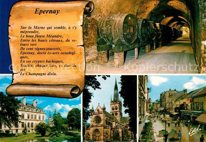 AK / Ansichtskarte Epernay_Marne Une galerie de foudres de vins Hotel de ville Eglise Notre Dame La rue Saint Thibault Epernay Marne
