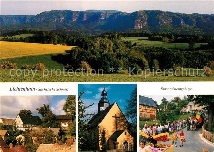 AK / Ansichtskarte Lichtenhain_Jena Elbsandsteingebirge Umzug am Blumenfest Blick vom Pfarrberg Lichtenhain Jena