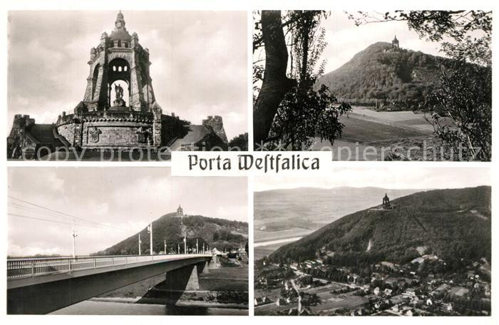 AK / Ansichtskarte Porta_Westfalica Kaiser Wilhelm Denkmal Wittekindsberg Bruecke Panorama Porta_Westfalica