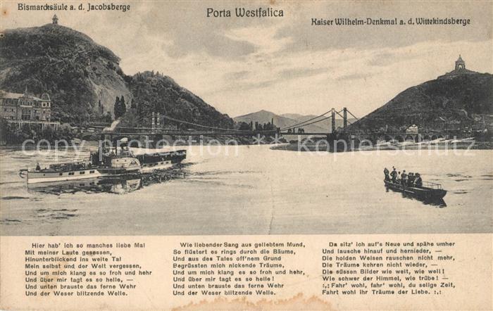 AK / Ansichtskarte Porta_Westfalica Bismarcksaeule Jacobsberg Weserpartie Kaiser Wilhelm Denkmal Porta_Westfalica