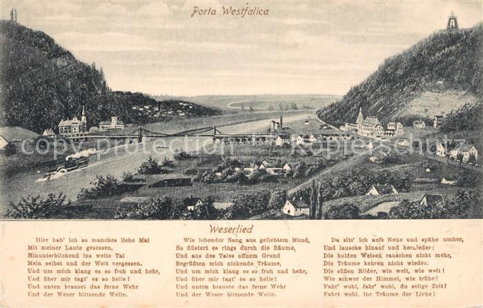 AK / Ansichtskarte Porta_Westfalica Weserpartie Kaiser Wilhelm Denkmal Porta_Westfalica