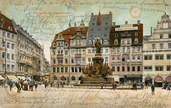 AK / Ansichtskarte Leipzig Marktplatz mit Siegesdenkmal Leipzig