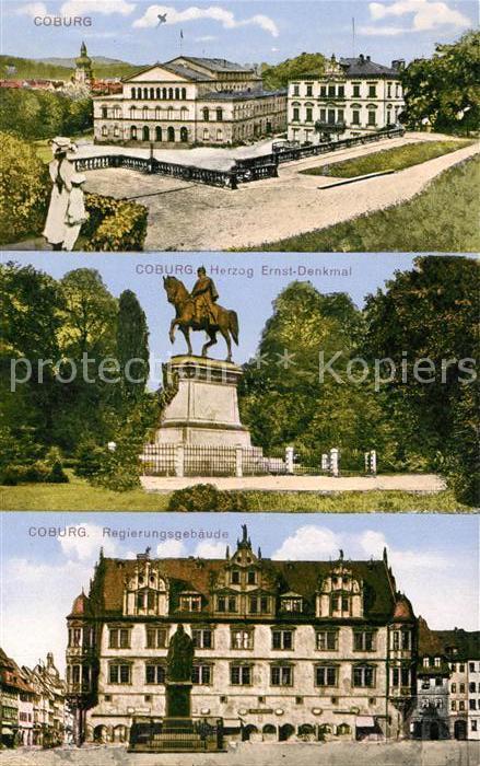 AK / Ansichtskarte Coburg Schloss Herzog Ernst Denkmal Regierungsgebaeude Coburg