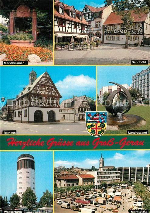 AK / Ansichtskarte Gross Gerau Marktbrunnen Sandboehl Rathaus Fachwerkhaus Landratsamt Brunnen Wasserturm Marktplatz Gross Gerau