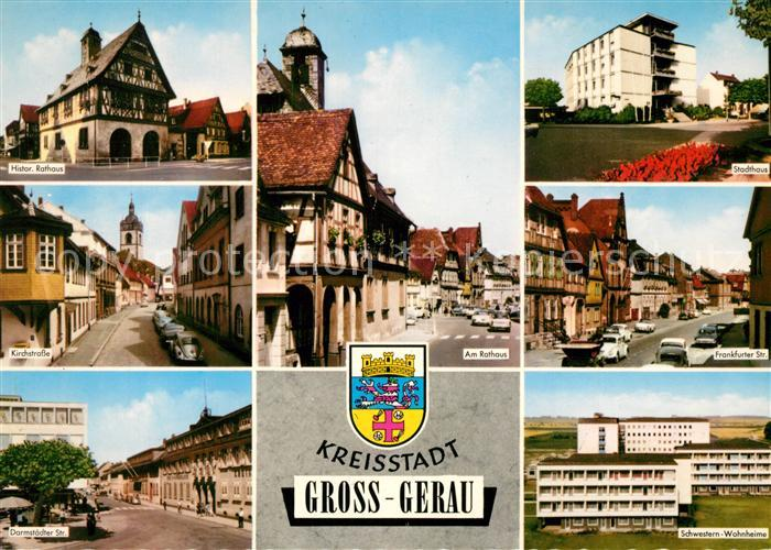 AK / Ansichtskarte Gross Gerau Historisches Rathaus Fachwerk Strassenpartien Rathaus Stadthaus Schwesternwohnheim Wappen Gross Gerau