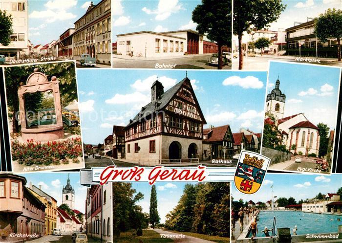 AK / Ansichtskarte Gross Gerau Strassenpartien Brunnen Bahnhof Rathaus Fasanerie Marktplatz Kirche Schwimmbad Gross Gerau
