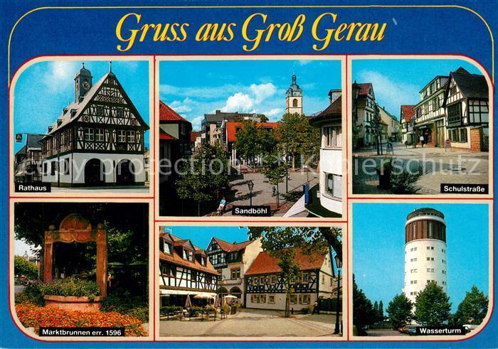 AK / Ansichtskarte Gross Gerau Rathaus Sandboehl Schulstrasse Wasserturm Marktplatz Brunnen 16. Jhdt. Gross Gerau