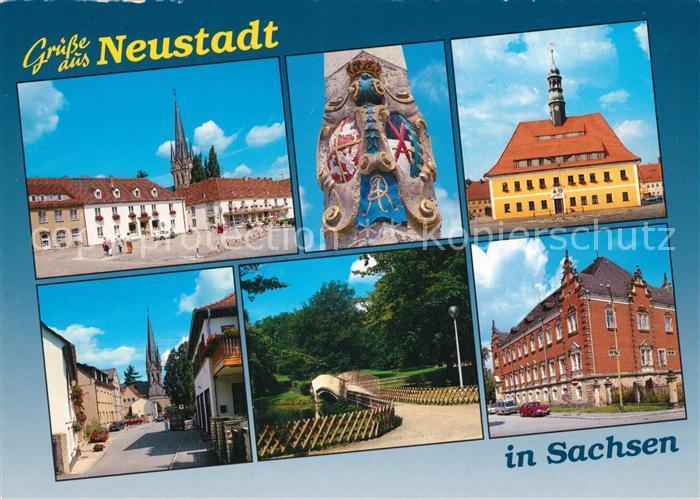 AK / Ansichtskarte Neustadt_Sachsen Marktplatz Rathaus Kirche Neustadt_Sachsen