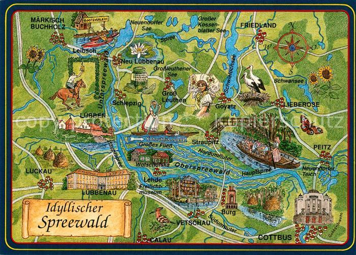 AK / Ansichtskarte Spreewald Panoramakarte Spreewald
