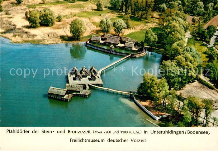 AK / Ansichtskarte Unteruhldingen Pfahldoerfer Stein  Bronzezeit Freilichtmuseum Unteruhldingen