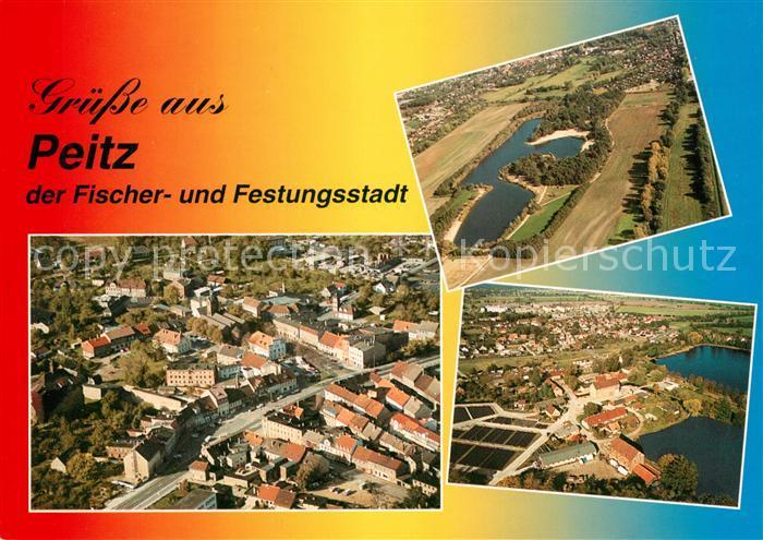 AK / Ansichtskarte Peitz Fliegeraufnahme Stadtbild Badesee Garkoschke Teichlandschaft Peitz