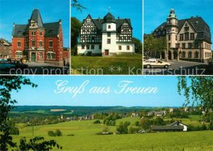 AK / Ansichtskarte Treuen Schloss Rathaus Postamt Panorama Treuen