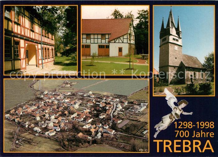 AK / Ansichtskarte Trebra_Sondershausen Fliegeraufnahme Kirche Fachwerk Trebra Sondershausen
