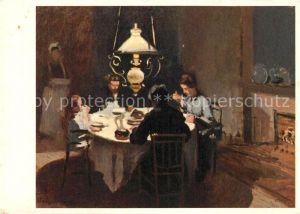 AK / Ansichtskarte Kuenstlerkarte Claude Monet Abendessen bei Sisley  Kuenstlerkarte