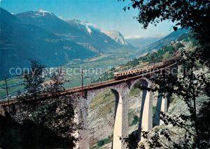 AK / Ansichtskarte Eisenbahn Bern Loetschberg Simplon Bahn Luogelkinviadukt Wallis Eisenbahn