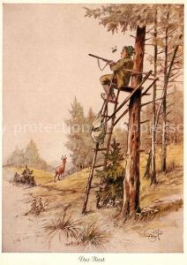 AK / Ansichtskarte Kuenstlerkarte H. Geilfus Das Biest Jaeger Hirsch  Kuenstlerkarte