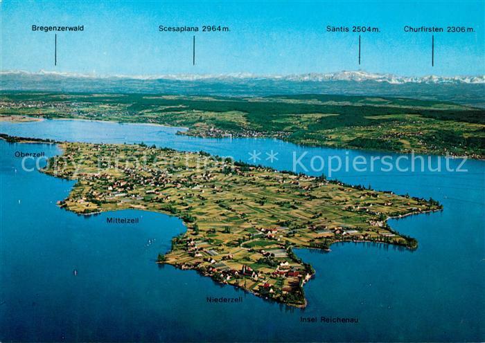 AK / Ansichtskarte Reichenau_Bodensee Fliegeraufnahme Niederzell Mittelzell Saentis Reichenau Bodensee