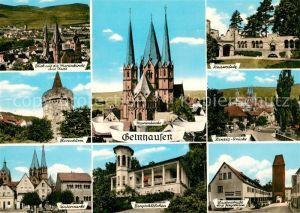 AK / Ansichtskarte Gelnhausen Marienkirche Stadt Kaiserpfalz Hexenturm Kinzig Br?cke  Gelnhausen