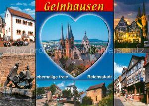 AK / Ansichtskarte Gelnhausen Obermarkt Marienkirche Brunnen Rathaus Denkmal Gelnhausen