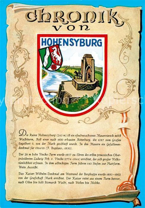 AK / Ansichtskarte Hohensyburg Chronik Ruine  Hohensyburg