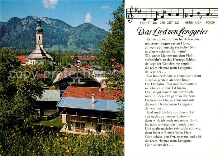 AK / Ansichtskarte Lenggries Das Lied von Lenggries Noten Ortsmotiv mit Kirche Alpen Lenggries