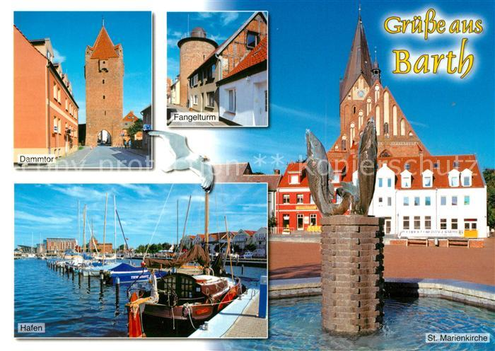 AK / Ansichtskarte Barth Dammtor Fangelturm Hafen Marienkirche Barth