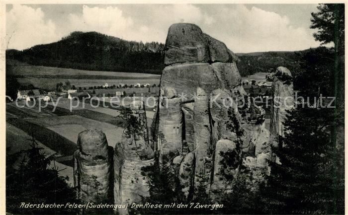 AK / Ansichtskarte Adersbach_Boehmen Adersbacher Felsen Der Riese mit den 7 Zwergen Adersbach Boehmen