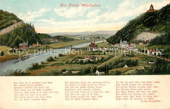 AK / Ansichtskarte Porta_Westfalica Weserpartie mit Kaiser Wilhelm Denkmal Porta_Westfalica