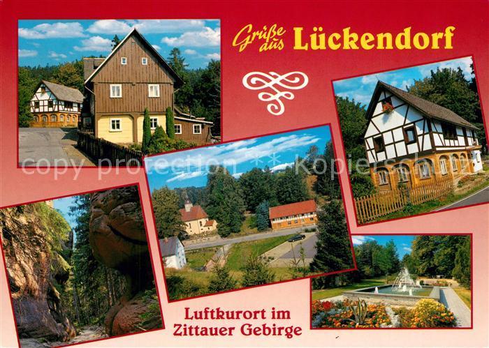 AK / Ansichtskarte Lueckendorf Brunnen Fachwerk im Zittauer Gebirge Lueckendorf