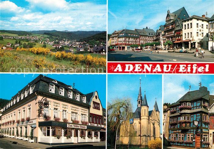 AK / Ansichtskarte Adenau Panorama Marktplatz Schloss Zum Wilden Schwein Adenau