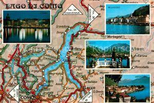 AK / Ansichtskarte Lago_di_Como Como Bellaggio Lecco Menaggio Staedte am Comersee Landkarte Lago_di_Como