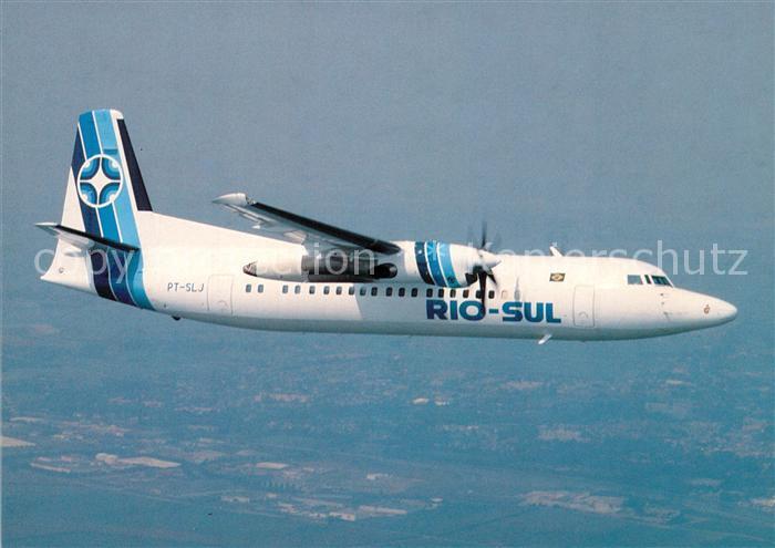 AK / Ansichtskarte Flugzeuge_Zivil Rio Sul Fokker 50 PT SLJ  Flugzeuge Zivil