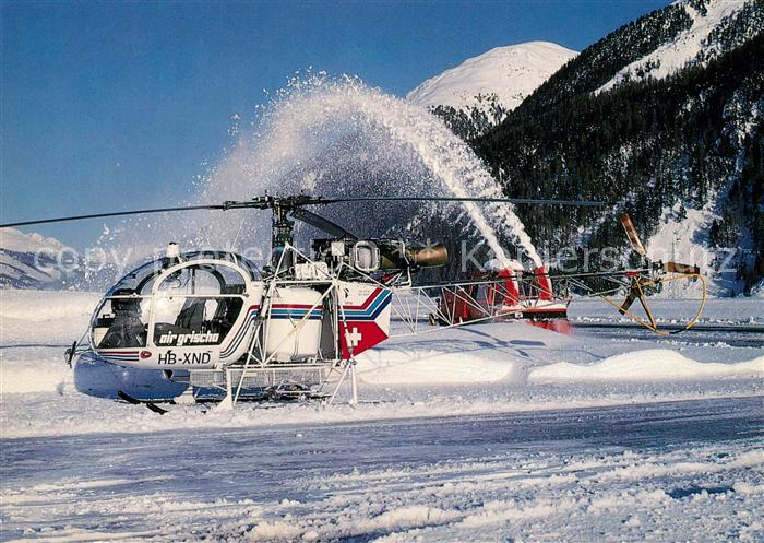 AK / Ansichtskarte Hubschrauber_Helikopter Air Grischa Aerospatiale SA315B Lama HB XND c n 2624 Hubschrauber Helikopter