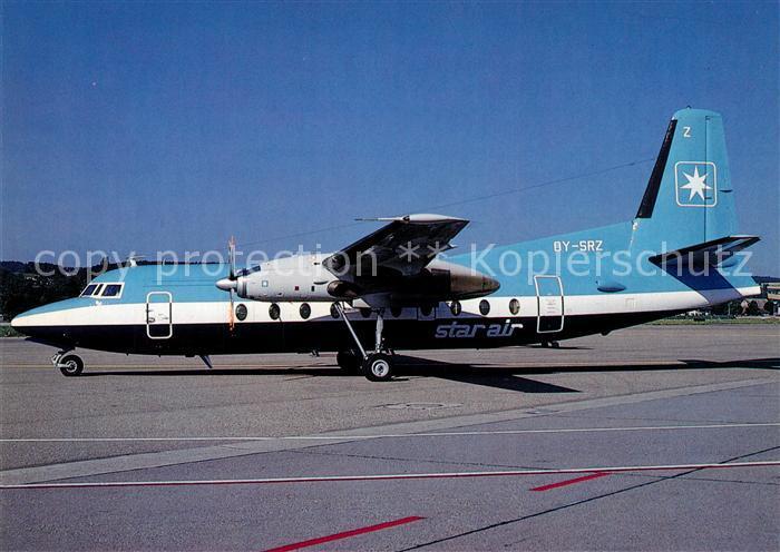 AK / Ansichtskarte Flugzeuge_Zivil Star Air Fokker F27 Mk. 600 OY SRZ c n 10508 Flugzeuge Zivil
