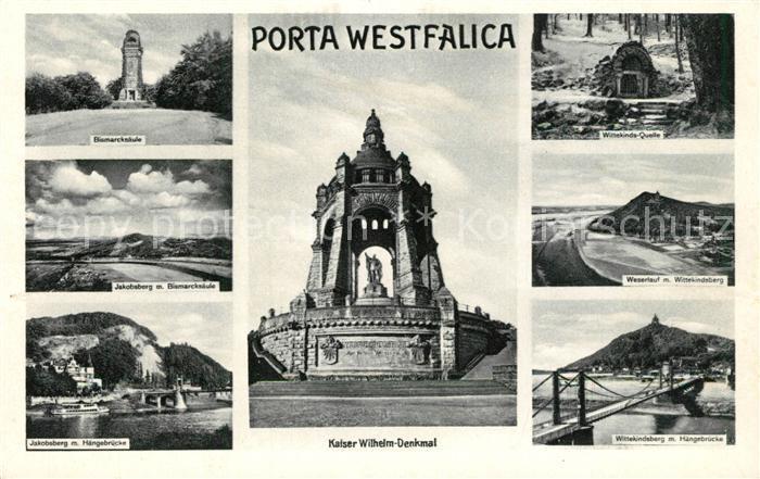 AK / Ansichtskarte Porta_Westfalica Bismarcksaeule Jakobsberg Wittekinds Quelle Kaiser Wilhelm Denkmal Wittekindsberg Haengebruecke Porta_Westfalica