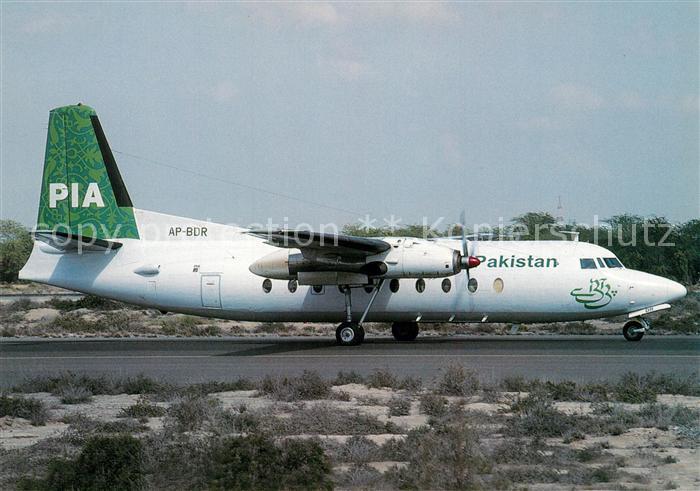 AK / Ansichtskarte Flugzeuge_Zivil PIA Pakistan International Airlines Fokker F27 200 AP BDR c n 10134 Flugzeuge Zivil
