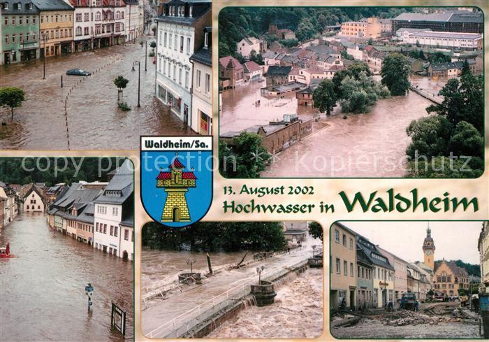 AK / Ansichtskarte Waldheim_Sachsen Hochwasser Zuchthaus Obermarkt Niedermarkt Zschopaubruecke Waldheim Sachsen