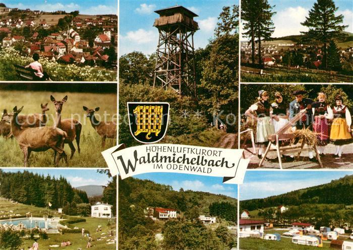 AK / Ansichtskarte Waldmichelbach Teilansichten Hoehenluftkurort im Odenwald Freibad Campingplatz Aussichtsturm Trachten Wild Rehe Waldmichelbach